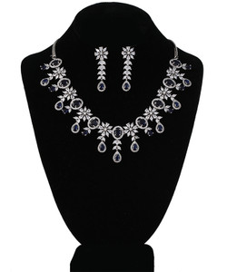 Sapphire Blue and CZ American Diamonds necklace