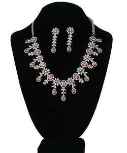 Yellow Topaz and CZ American Diamonds necklace