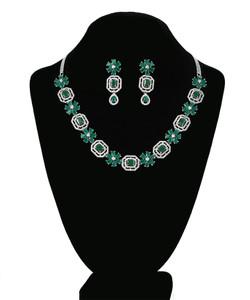 Green Emerald Cut Octagon Crystal Rhodium plated necklace