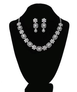 Clear Emerald Cut Octagon Crystal Rhodium plated necklace