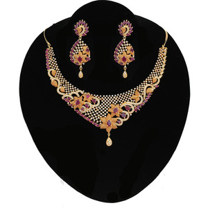 Grand Designer CZ Pink Ruby Stones Wedding Choker Necklace