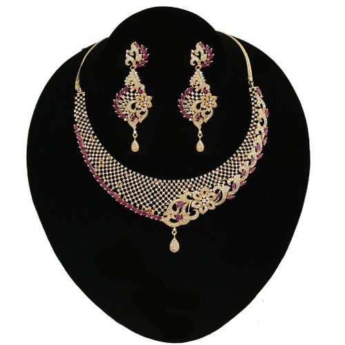 Pink Ruby Stones Wedding Choker Imitation Necklace