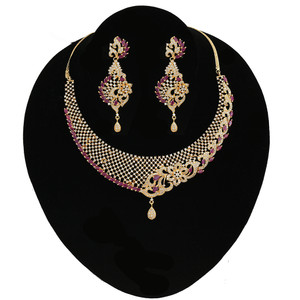 Pink Ruby Stones Wedding Choker Imitation Necklace