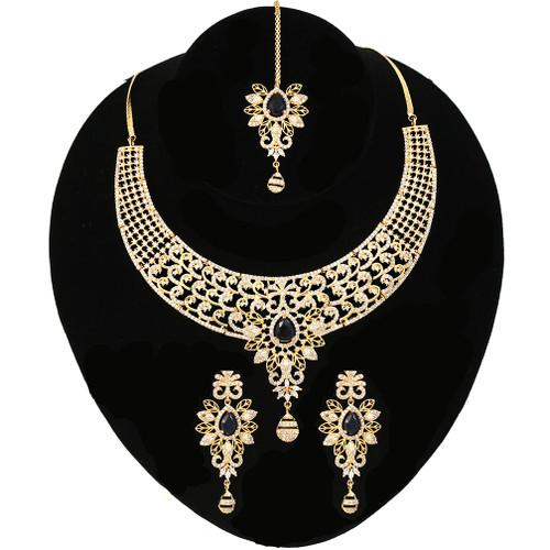 White Sapphire Blue Collar Choker Necklace set