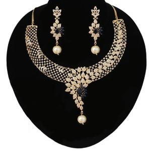 Sapphire Blue Collar Choker Necklace Set