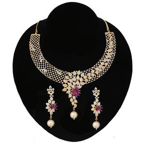 Ruby Pink Collar Choker Necklace Set