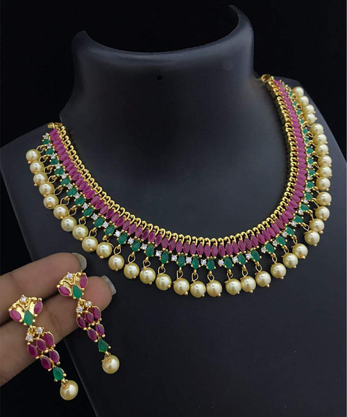 Party Wear Choker Necklace Multicolor Marquise Stones with Pearl Drops