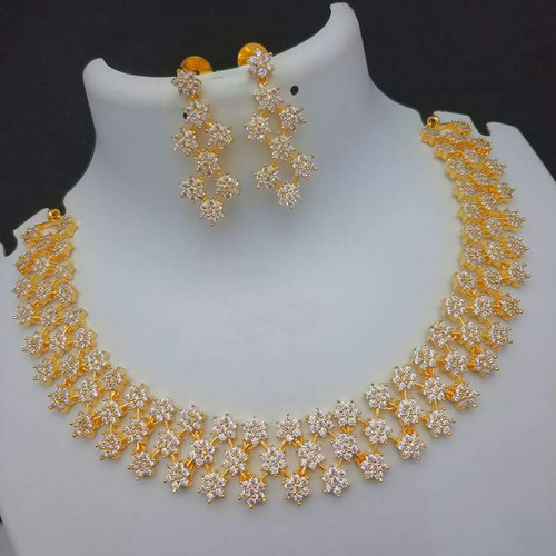 Star Design White Stone Bridal Necklace