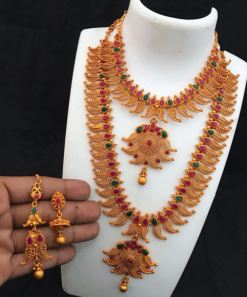 Temple Long and Short Haram Necklace Wedding Jewellery