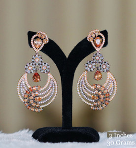 Chandbali Earrings with Yellow Topaz Stones