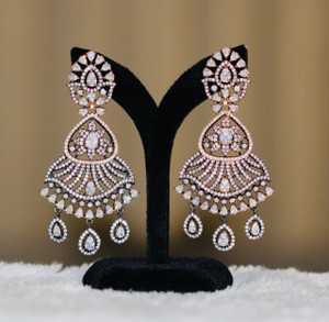 Antique Finish Oxidized Earrings with Clear Stones