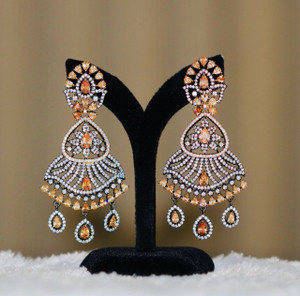 Antique Finish Oxidized Earrings with Yellow Topaz Stones