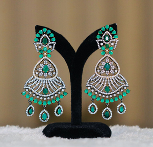 Antique Finish Oxidized Earrings with Emerald Stones