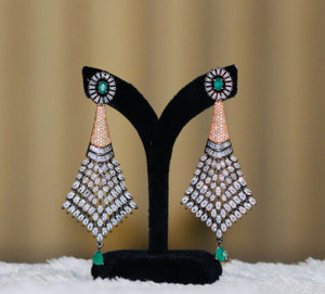 Clear Crystal Green Stone studded earrings