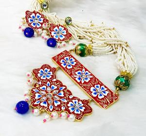 Kundan Meenakari Gold Plated Pearl Red Brass Necklace