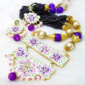 Kundan Meenakari Gold Plated Pearl White Lavender Brass Necklace