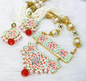 Meenakari Gold Plated Kundan Pearl Multicolor Brass Necklace