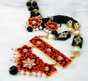 Meenakari Gold Plated Kundan Indian Pearl Red Black Jodi