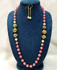 Antique Gold Balls and Pink Beaded Single Strand Necklace