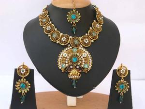 Indian Fashion Gold plated Blue zircon indicolite Polki set-03PLK207