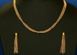 Gold,white and copper plated chain necklace-12NEC110