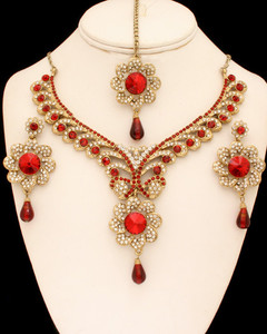 Designer fashion jewelry embedded with Siam Red and Clear cubic zirconia stones