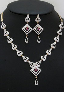 Traditional fashion jewelry sets with Ruby Stone and Clear Crystals-ADN109