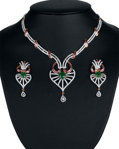 Inspired designer costume fashion cubic zirconia necklace jewelry with  Emerald stones and Clear crystals-ADN110
