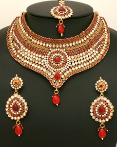 Studded designer  semi bridal polki jewellery necklace set with clear  and ruby stones-06SMBR20