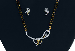 An Elegant White stone studded Mangalsutra-MAGS008