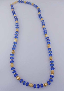 High fashion Blue beaded necklace with gold plated flower spacer beads