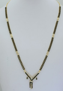 White  and black Stone Studded Mangalsutra -08mas18