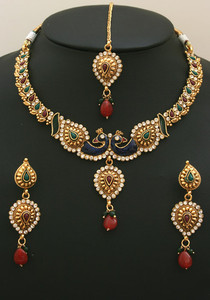 Fabulous Polki Fashion jewelry with Ruby,Emerald and clear stones -08PLKJ025