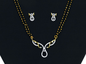 An Elegant White stone studded Mangalsutra-MAGS004