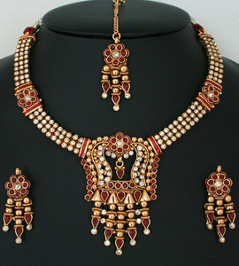 Charming Indian Fashion White, Ruby Red stones polki jewelry Necklace set-011PLKJ53