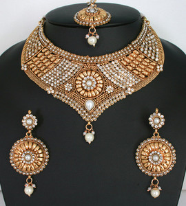 Indian Polki stone Pearl jewellery bridal necklace set-11SMBRJ21