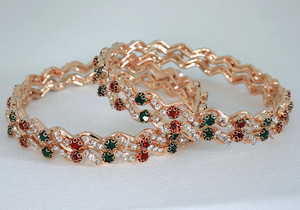 Ethnic Indian Fashion Jewelry Bangle set with Green,Red and White stones studded-12BANJ11