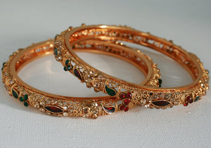 Flat red , green cabochons and red,green and topaz CZ stones studded Indian fashion Bangle set-04BAN13