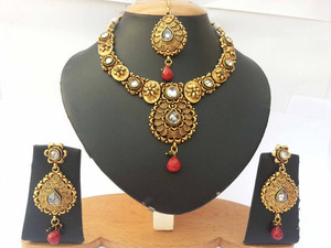 Studded designer semi bridal polki necklace set  with White polki stones-03PLKM07