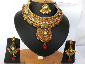 Modern fashion jewelry with Gold plated Emerald,White and Ruby Polki set-03PLKM04