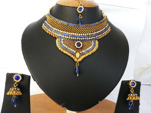 Fashion Indian bridal polki Necklace set with Sapphire Blue and White polki stones-03PLKM14