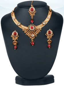 Eye-catching Emerald,ruby and white stones  polki bridal jewelry set-0601PLK300
