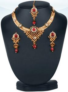 Eye-catching Emerald,ruby and white stones  polki bridal jewelry set-0601PLK300
