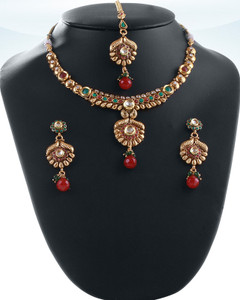 Eye-catching Fashion Indian jewellery polki Necklace set with Emerald,Ruby Red and White polki stones-04PLKA10