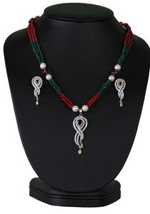 Fabulous multicolored beaded necklace with simulated cz pendant-CJBEAD44