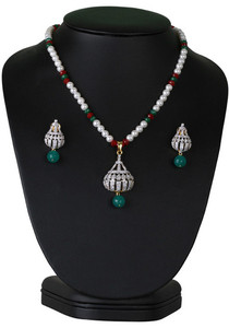 Costume jewelry beaded necklace with clear cz studded pendant-CJBEAD43