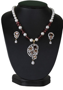 Exclusive beaded necklace with simulated rhodolite purple stones cz pendant-CJBEAD47