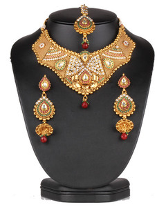 Indian costume semibridal necklace set with clear ,emerald and ruby stones-0628SMBR13