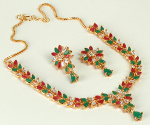 Beautiful fashion necklace with Ruby Stones, Emerald and Clear Crystals-01CZER