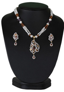 Exclusive beaded necklace with simulated rhodolite purple stones cz pendant-CJBEAD52